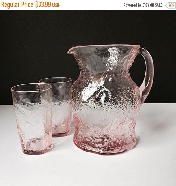 ON SALE Light Pink Morgantown or Seneca Crinkle Glass Pitcher and Tumbler Pair, Retro Drinkware Set