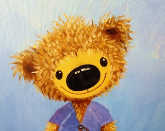 "Picture ""Cute Teddy"", Original oil painting on canvas, Size 30 х 40 cm / 12'' x 16'', Teddy Bear"