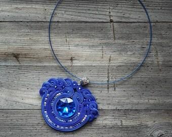 Deep Blue- pendant Soutache,!! pendente soutache, pendentif soutache