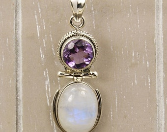 Moonlight Sonata Moonstone Pendant Amethyst & .925 Sterling Silver Pendant , AE647 The Silver Plaza