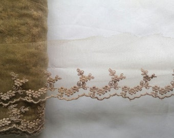 wholesale lot   14yds  Brown  embroidered  flower  frill  Lace Trim Crafts/ DIY Wedding doll dress 5cm