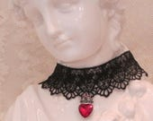Black Lace Choker, Necklace, Victorian Gothic Collar, Elegant, Romantic, Jewelry w/Heart Pendent