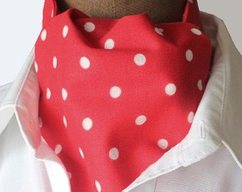 Ascot,men ascot,red  with white dots