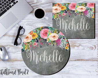 Personalized Mouse Pads - Monogrammed Mouse Pad -Round or Square -Monogram Gifts-Desk Accessories-Initials-Personalized Gift - Made in USA