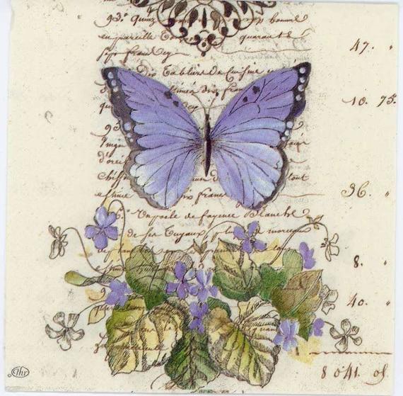 4 Decoupage Napkins Romantic Blue Butterfly Butterfly