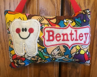 Mario Brothers Nintendo personalized tooth fairy pillow