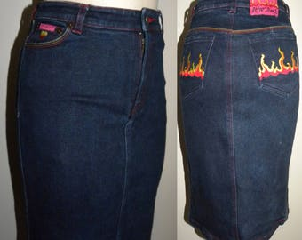 "1990s 90s Betsey Johnson DENIM wiggle skirt / Pencil Skirt / Embroidered Flame pockets / Avant Gardé / Vintage size S / 26"" waist"