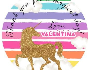Rainbow Unicorn Personalized Stickers, Birthday Unicorn Personalized Labels - First Birthday Favor Labels