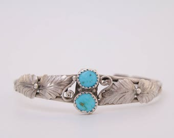 Native American turquoise and sterling silver cuff bracelet / Navajo turquoise and silver cuff bracelet / Native American cuff / turquoise