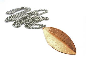 Copper leaf long necklace, hammered copper leaf, stainless steel finishing + chain, organic copper, mixed metals, copper steel, organic