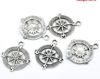 2 Antiqued Silver Compass Charms/Pendants