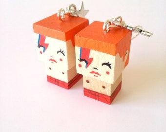 "Earrings Wooden Dolls ""Aladdin Sane"" Bowie - Hand-made"