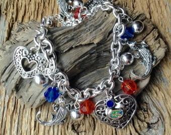 University of Florida Gators charm bracelet: UF Gators charm bracelet with alligators, hearts, blue and orange beads