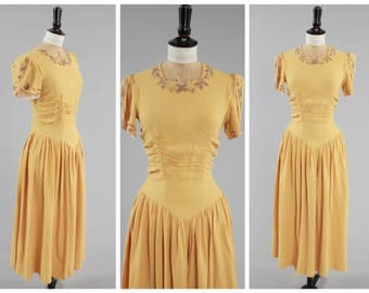 Vintage original 1940s 40s 11011 double elevens label sunshine yellow crepe evening dress UK 8 10 US 4 6 S