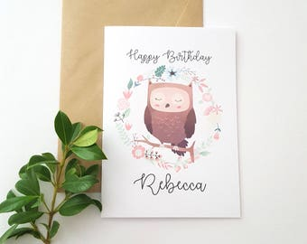 Owl Children's Happy Birthday Card / Personalised Birthday Card / Printed Kids Birthday Card / Woodland Owl Birthday Card