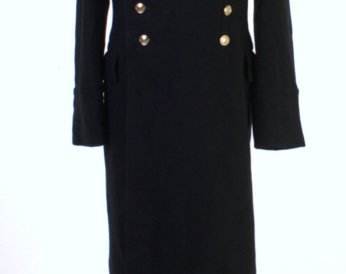 New USSR Russian Navy Uniform Black Overcoat Wool Coat Goth Steampunk 48-3 M