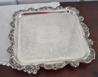 Square Silverplate Serving Tray, Towle Footed Silver Plate Tray, Silver Platter Salver, Wedding Reception Decor, Paris Apartment Bar Vanity