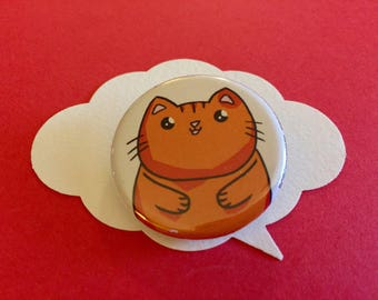 cute orange cat pin | chubby kitten button