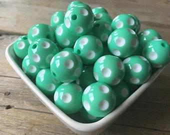 20mm Mint Polka Dot Chunky Bead, Summer Bubblegum Bead, Acrylic Bead, DIY Chunky Necklace, 10 Count