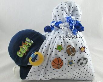 Stork bundle baby | Boy diaper cake | Stork bundle | Sports diaper cake | Baby shower gift | Unique baby gift | Baby sprinkle gift