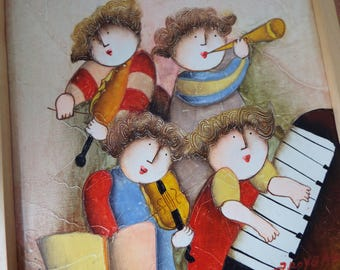 J. Roybal abstract modern acrylic painting of 4  musicians  band piano violin horn Childrens roon