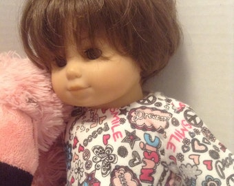 """Dream/Smile/Love Flannel Romper/Sleeper - Fits 15"""" Bitty Baby and all other 15"""" Dolls"""