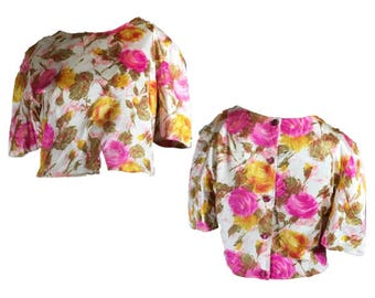 Vintage Crop Top | Watercolor Floral Print | Vintage 60s | Pastel Print | Back Buttons