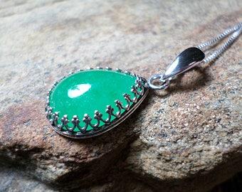 Bermese Green Jade Necklace, Fine Jewelry, Green Stone Necklace, Gemstone Necklace,Bermese Jade Jewelry, Sterling Silver Necklace,Bezel Set