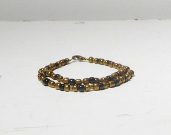 Goth Beaded Bracelet Small  Black Brass Beads Double Row Multi Strand Gothic Steampunk 7 Inches Long Medieval Renaissance Style Jewelry