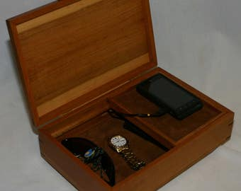 Men's Valet Box with phone charging port and sliding tray - Man's valet box - cherry #503