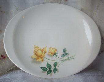 Vintage Canonsburg Yellow Rose Platter