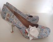 Blue wedding shoes, ladies shoes, alice in wonderland, liberty gallymogger, low heel shoes, kitten heel shoes