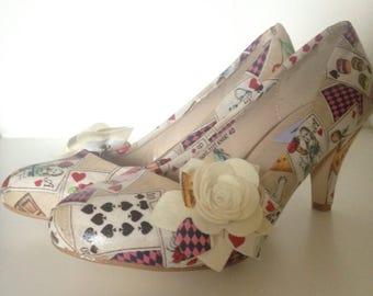 Alice in wonderland, bridal shoes, cream shoes, felt flowers, ladies shoes, wedding shoes, quirky heels, low heel shoes, wedding shoe