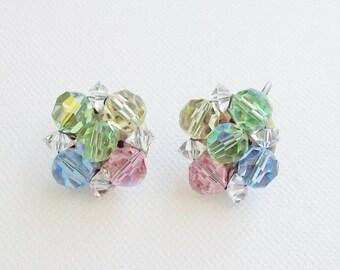 LAGUNA – Mid century clip earrings with glass beads handmade and signed Laguna
