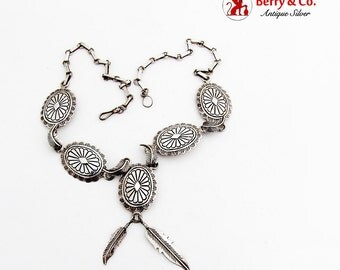 Concho Feather Link Necklace Feather Drops Sterling Silver 1960