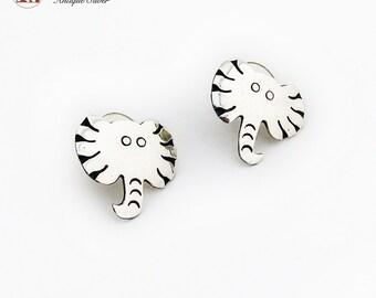 Funny Elephant Head Post Earrings Sterling Silver