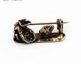 Gold Miner Figure Brooch Pin Gilt Sterling Silver