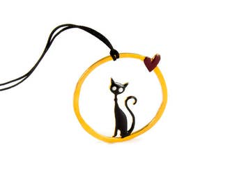 Cat Love Pendant Sterling Silver Round Circle Red Heart Cute Geometric Animal Jewelry Whimsical Design Dream Night Heart Enamel Love Gift