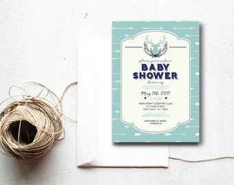 INSTANT DOWNLOAD baby shower invitation / tribal baby shower / rustic baby shower / baby boy shower / arrows baby shower / diy shower invite