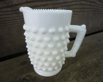 Fenton Milk Glass Hobnail Creamer