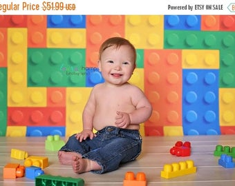 5ft x 5ft Lego Photography Backdrop - Children's Photo Background Prop-  Vinyl or Poly - Item 1490