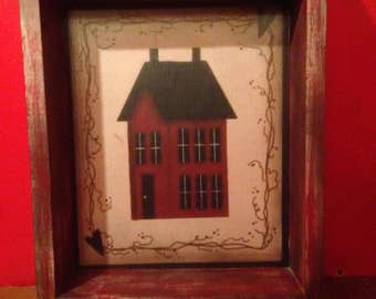 Primitive print shadowbox shelf, saltbox house , red shabby finish, two shelves,country, rustic decor , wall shelf