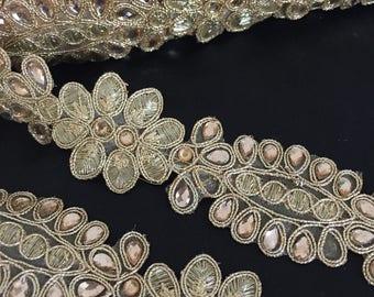 Rhinestone Gold Beaded Trim for DIY Wedding, Veil, Wedding dress, Wedding Supplies.