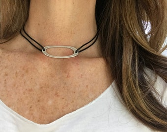 Black Leather Sliding Knot Choker with Long Antique Silver Organic Shaped Focal, Leather Necklace, Modern, Minimalist, Black and Silver