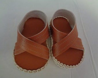 "18""  Doll Sandals -Clay Brown Doll Sandals-Shown on my american girl doll"