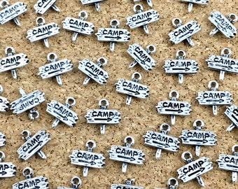 BULK,40 camp sign charms,silver tone 13mm,#CH 195