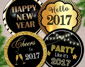 Printable 2017 New Years Cupcake Toppers PRINTABLE New Years Eve Party Cupcake Decoration New Years Party Decor, Hello 2017 INSTANT DOWNLOAD
