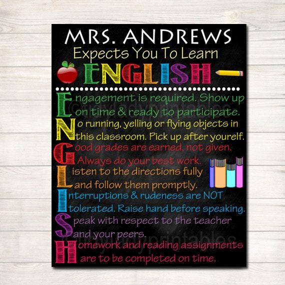 Custom English Classroom Poster English Classroom Decor