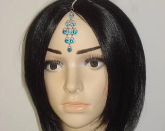 Blue Tikka - Silver Crystal Drop Bollywood Jewelery - Tribal Hair Chain Tikkas - Bellydance