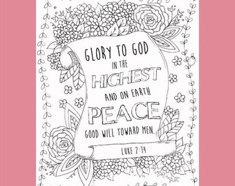 Christian Coloring Page, Glory to God Coloring, Holiday Coloring Page